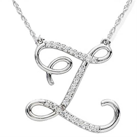 "Diamond ""Z"" Initial Pendant 18"" Necklace 14K White Gold"