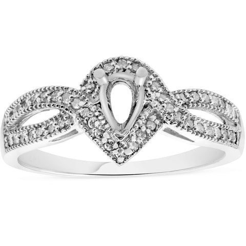 1/5ct Pear Shape Diamond Engagement Ring Setting Mount 14K White Gold