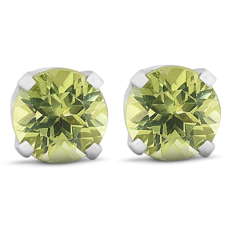 Peridot Studs 14K White Gold 4mm 1/2ct