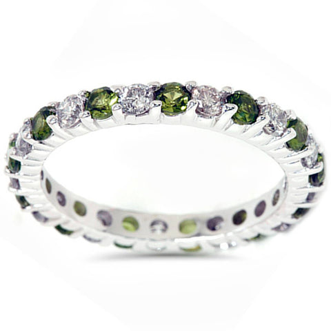 1 1/2ct Peridot & Diamond Eternity Ring 14K White Gold Womens Wedding Band Stack
