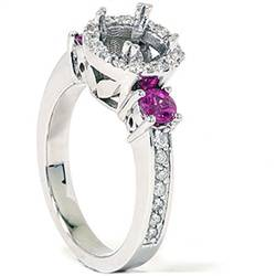 1/2ct VS Pink Sapphire Diamond Engagement Semi Mount Setting Ships in 1 day