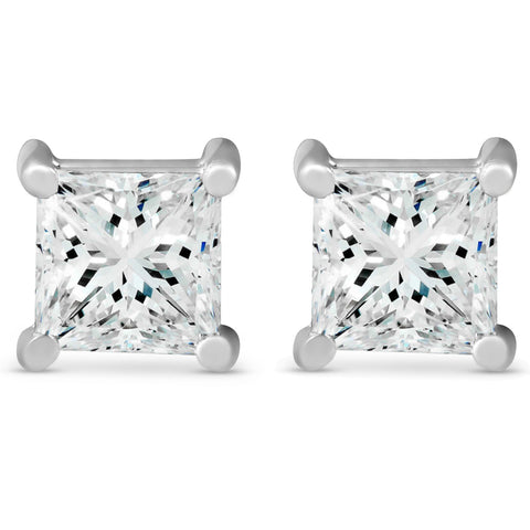 G/SI 2 ct TDW Princess Cut Diamond Screw Back Studs 14k White Gold Enhanced