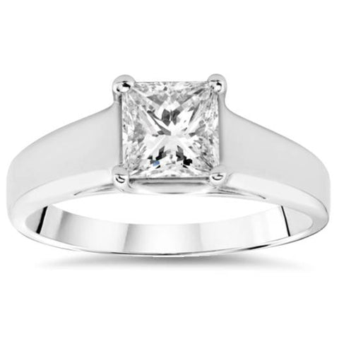 1 ct White Gold Princess Cut Enhanced Diamond Solitaire 14k Engagement Ring