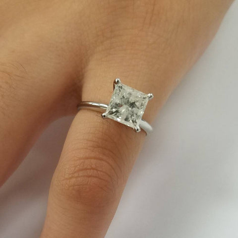 SI1/G 1.50 Ct Princess Cut Diamond Solitaire Engagement Ring White Gold Enhanced