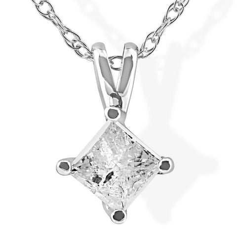 13ct princess cut solitaire diamond 14k white gold pendant chain 13ct princess cut solitaire diamond 14k white gold pendant chain mozeypictures Images
