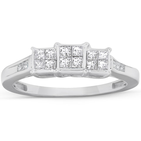 1/2 Ct Princess Cut Diamond Three Stone Engagement Ring 10k White Gold