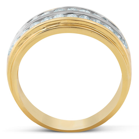 1 Ct Diamond Mens Double Row Wedding Ring 10k Yellow Gold