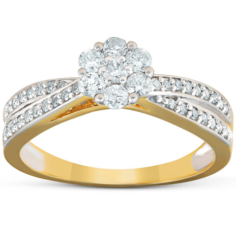 1/2 Ct Diamond Engagement Crossover Infinity Band 10k Yellow Gold Round Cut