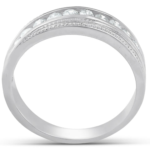 1/2 Ct Mens Diamond Wedding Ring With Bead Accent High Polished White Gold
