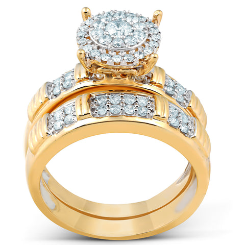 3/4 Ct Halo Diamond Engagement Wedding Ring Set 10k Yellow Gold