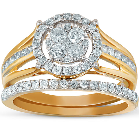1 Ct Halo Diamond Engagement Wedding Ring Set Multi Row Wedding Band Yellow Gold