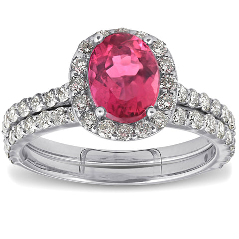 F/VS 2.28ct Pink Tourmaline Oval Halo Diamond Engagement Wedding Ring 18k Gold 6