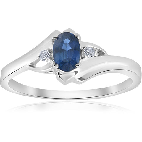 1/2ct Oval Blue Sapphire Diamond Ring 14K White Gold