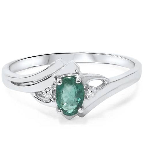 1/2ct Genuine Oval Emerald & Diamond Ring 14K White Gold