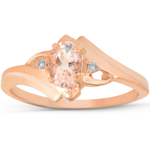1/2ct Morganite & Diamond Ring 14K Rose Gold