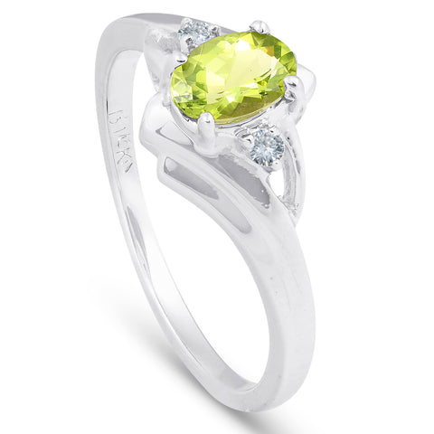 5/8ct Oval Peridot & Diamond Ring 14K White Gold
