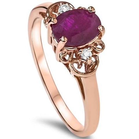 3/4ct Ruby & Diamond Vintage Filigree Ring 14K Rose Gold