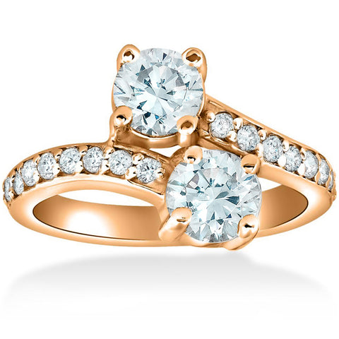 1 1/2 cttw Forever Us 2-Stone Diamond Engagement Forever Us Ring 14k Rose Gold