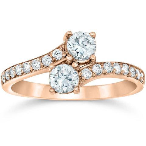 1 Carat Forever Us 2 Stone Solitiare Diamond Engagement Ring 14K Rose Gold