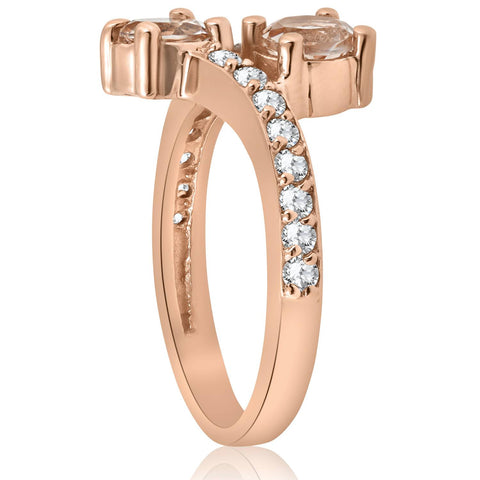 1 1/2ct Morganite & Diamond 2-Stone Forever Us Engagement Ring 14k Rose Gold