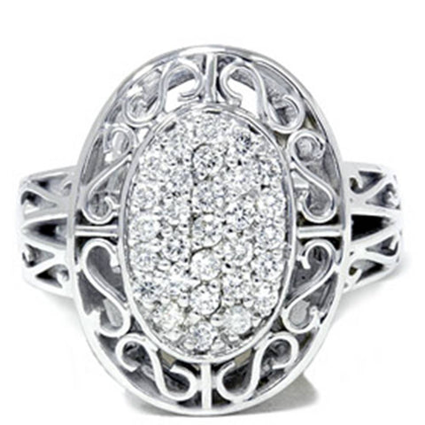 Vintage 3/4ct Large Pave Real Diamond White Gold Ring