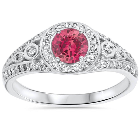 1ct Diamond & Synthetic Pink Tourmaline Vintage Ring 14K White Gold
