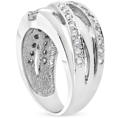 3/4 ct Diamond Womens Wide Ring 14k White Gold Multirow Solitaire Band
