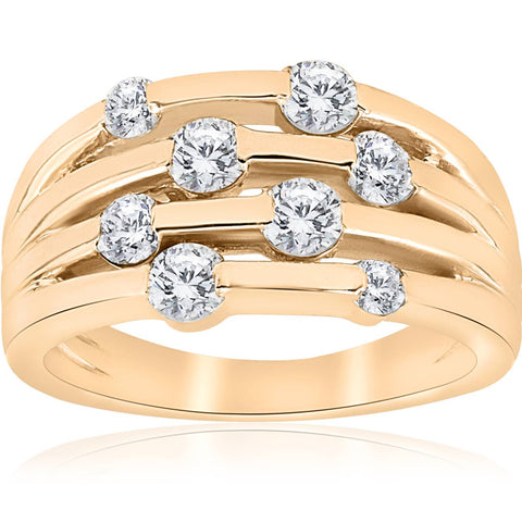 1ct Yellow Gold Real Diamond 14K Right Hand Womens Fashion Multi Row Ring