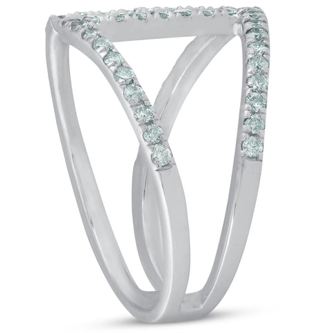 1/2ct Diamond Ring Fashion Right Hand Split Band White Gold