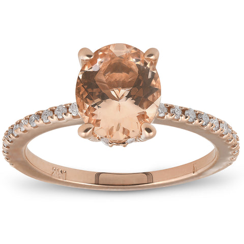 G/SI 2.30ct Oval Peach Morganite Halo Diamond Engagement Wedding Ring Rose Gold