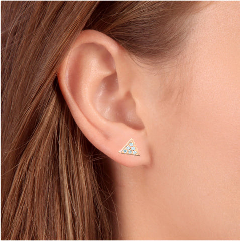 G/VS 14k Rose Gold Triangle Pave .12Ct Diamond Delicate Studs Womens Earrings