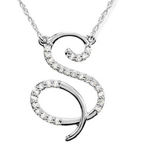"Diamond ""S"" Initial Pendant 18"" Necklace 14K White Gold"