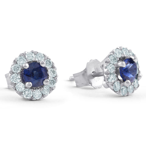 1ct Halo Blue Sapphire Diamond Studs 14k White Gold