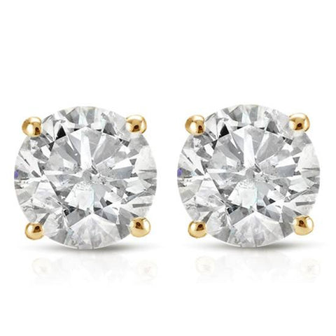 1 1/2 ct Round Diamond Stud Earrings in 14K Yellow Gold with Screw Backs