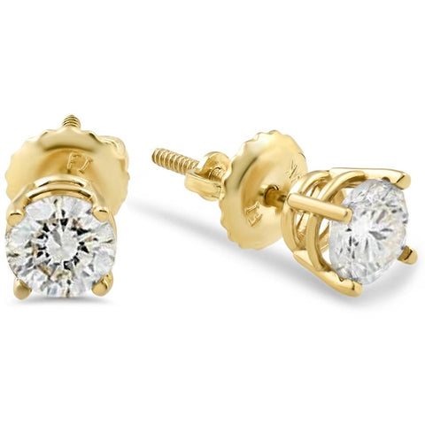 5/8ct Diamond Screw Back Studs 14K Yellow Gold