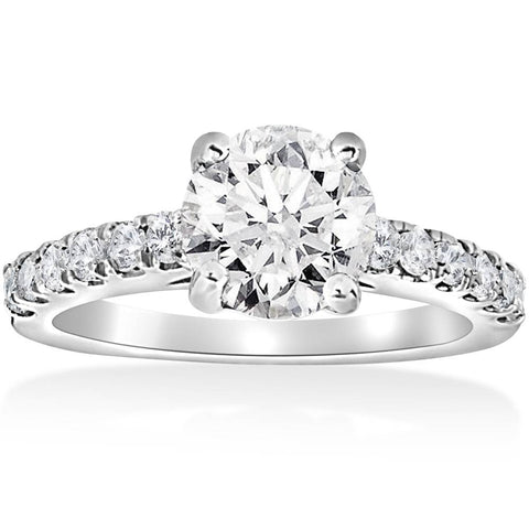1 1/2 ct Diamond Solitaire With Accents Round Engagement Ring 14k White Gold