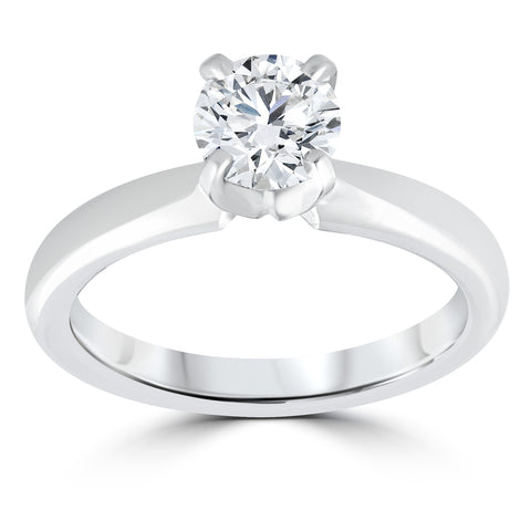 I/I2 1 ct Diamond Solitaire Round Brilliant Cut Natural Real 14k White Gold sz7