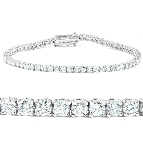 F/SI 4.28 Ct Diamond Tennis Bracelet 18k White Gold 7""