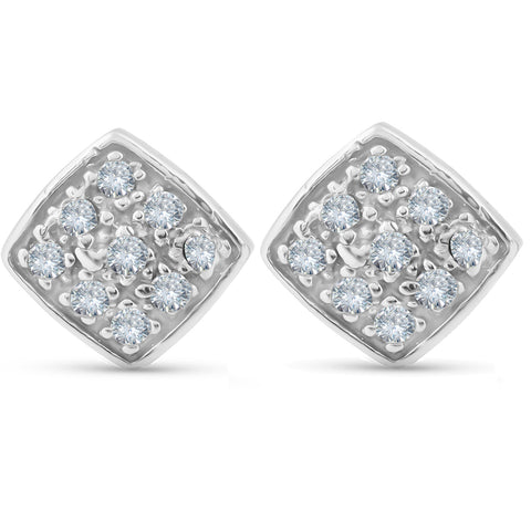 1/3ct Pave Stud Cushion Halo Diamond Cushion Shape Earrings 10K White Gold