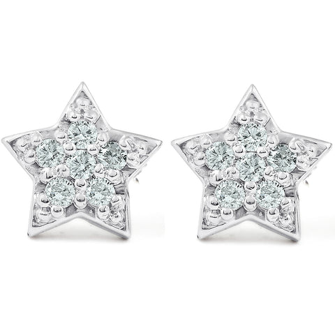 14K White Gold Diamond Pave Petite Star Studs Dainty High Polished 6.5MM