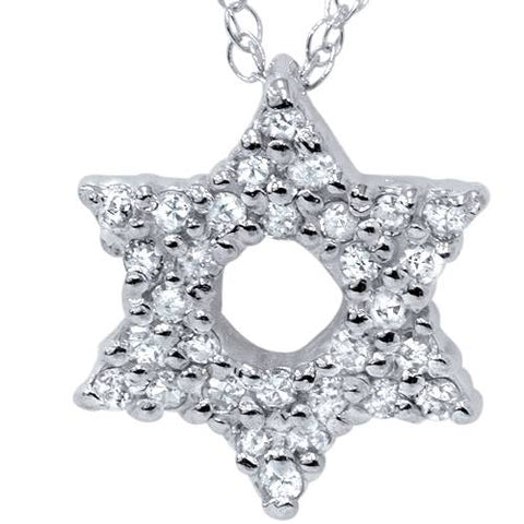 White Gold 1/4ct Star Of David Pave Diamond Pendant