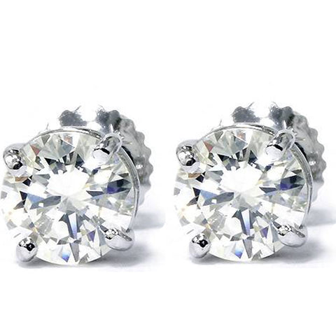 G/SI 1.33ct Diamond Studs 14K White Gold Screw Back Enhanced