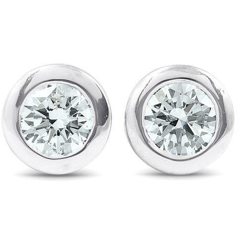 G/VS .25 ctw 14k White Gold Diamond Bezel Martini Stud Earrings Lab Grown