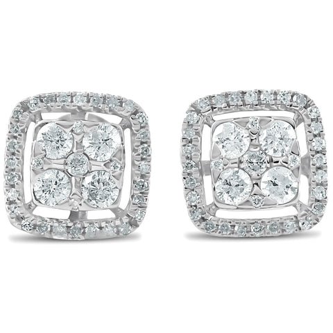 1/2 CT Diamond Cushion Halo Studs Womens Earrings 10k White Gold