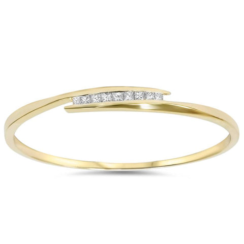 1ct Princess Cut Diamond Bangle Channel Set Solid 10K Yellow Gold
