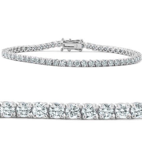 "G/VS 5 Ct Diamond Tennis Bracelet 18k White Gold 7"" Lab Grown Eco Friendly"