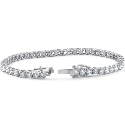 G/VS 7 Carat Round Lab Grown Diamond Tennis Bracelet 18K White Gold 7""