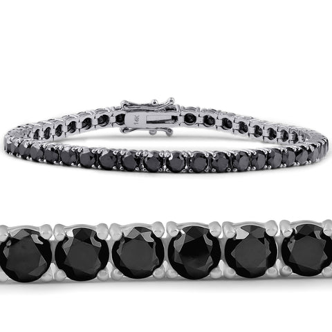 11 1/2 Ct Black Diamond Tennis Bracelet 14k White Gold 7""
