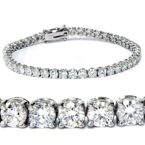 G SI 7 Carat Round Lab Grown Diamond Tennis Bracelet 14K White Gold 7""