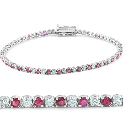 3ct Genuine Ruby & Real Diamond Tennis Bracelet 14K White Gold